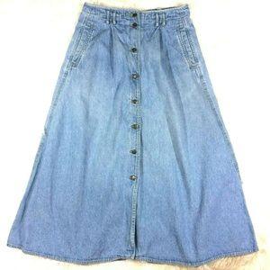 3d2d8dfae386 Vintage 90s LizWear Midi Button Front Denim Skirt